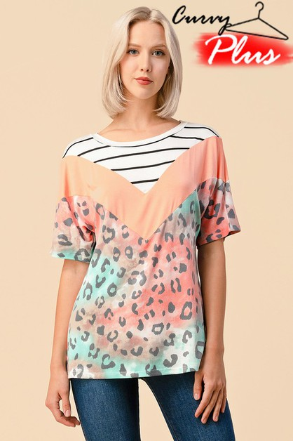 LEOPARD PRINT CHEVRON COLOR BLOCK TOP - orangeshine.com