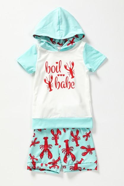Lobster hoodie shorts set - orangeshine.com
