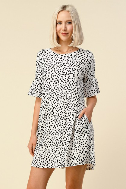 LEOPARD PRINT RUFFLE SLEEVE DRESS - orangeshine.com