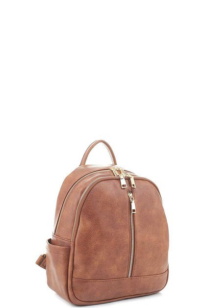 STYLISH PLAIN ZIPPER BACKPACK - orangeshine.com