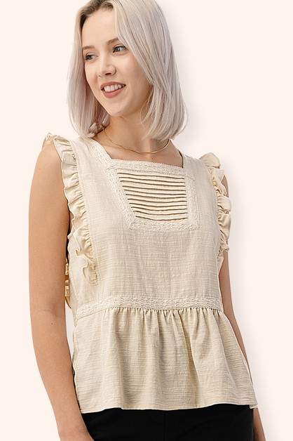 Ruffle Lace Trim Cotton Blouse - orangeshine.com