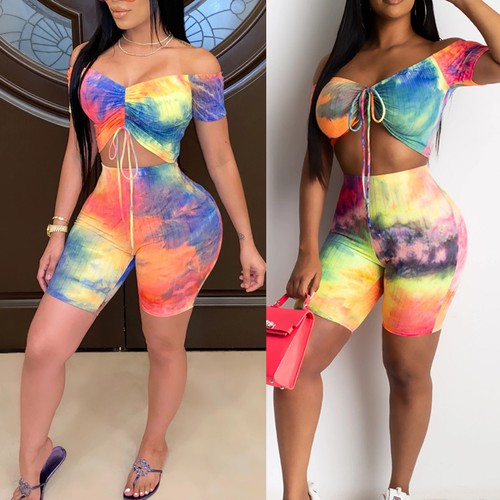 Sexy Tie Dye Crop Shorts 2pcs Set - orangeshine.com