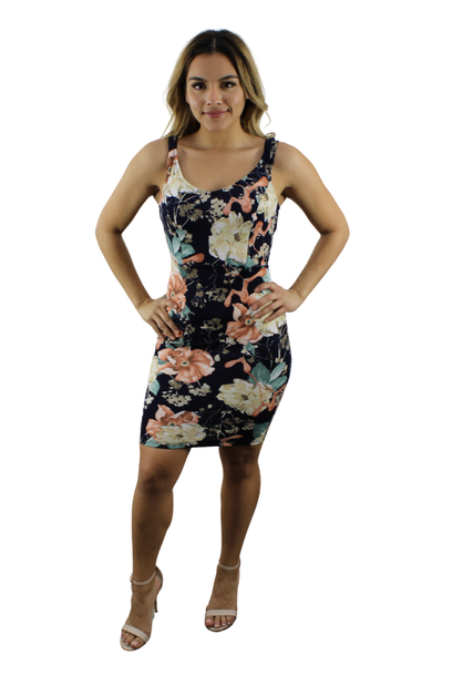 Navy Blue Mini Floral Dress - orangeshine.com