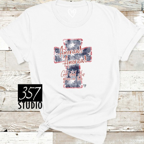 America America Distressed Cross - orangeshine.com
