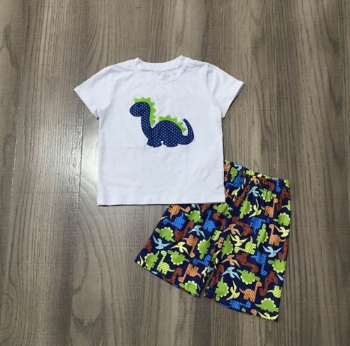 Dino applique boy shorts set - orangeshine.com