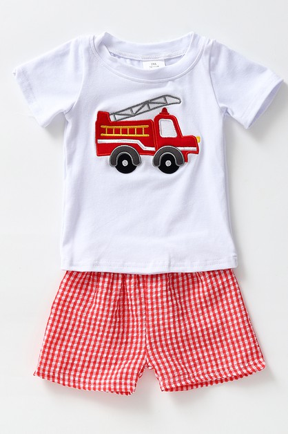 Fire engine applique gingham shorts - orangeshine.com
