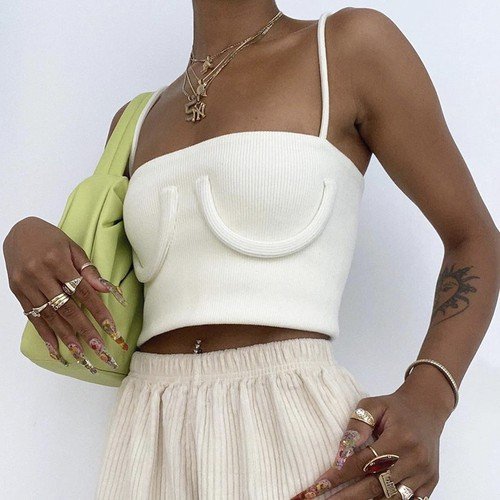 Sexy Solid White Fashion Crop Top - orangeshine.com