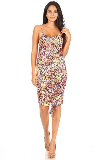 Printed Open Back Ruched Halter Dres - orangeshine.com