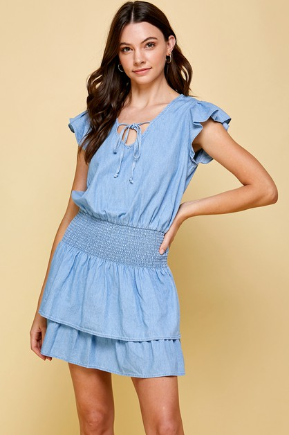 DENIM SMOCKED WAIST TIERED MINI DRES - orangeshine.com
