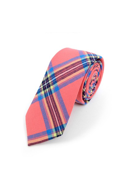 Mens Hot Pink Plaid Cotton Slim Tie - orangeshine.com