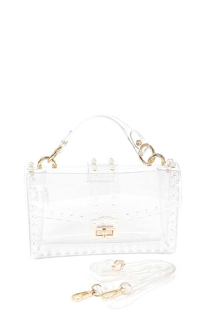 TRANSPARENT FAUX PEARL CLUTCH - orangeshine.com