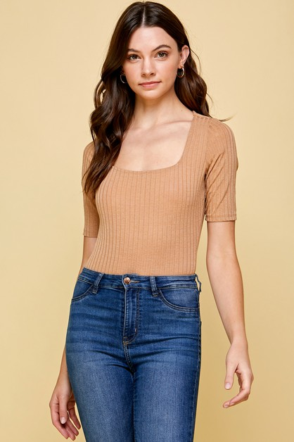 RIBBED BODYSUIT WITH SQUARE NECK - orangeshine.com