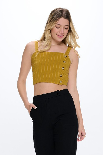 Side Button Down striped Linen Crop - orangeshine.com