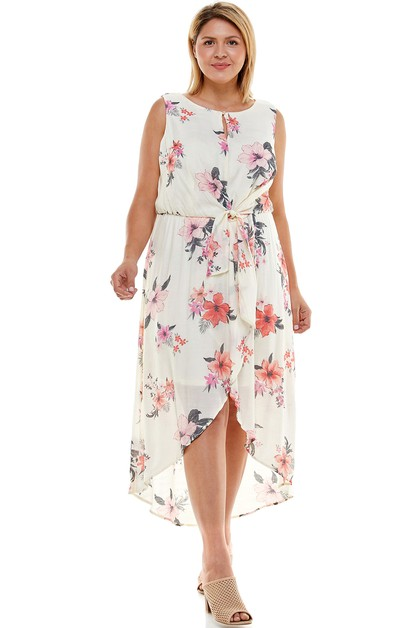 PLUS SIZE TROPICAL PRINT HI LO DRESS - orangeshine.com