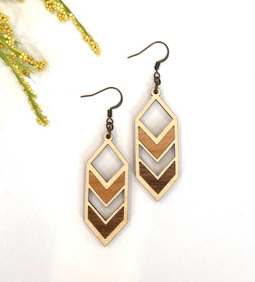 Maple Wood Multi Colored Earrings - orangeshine.com