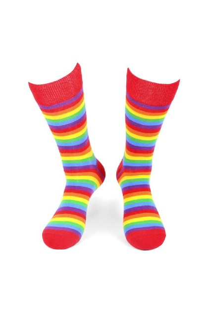 Mens Rainbow Striped Novelty Socks - orangeshine.com
