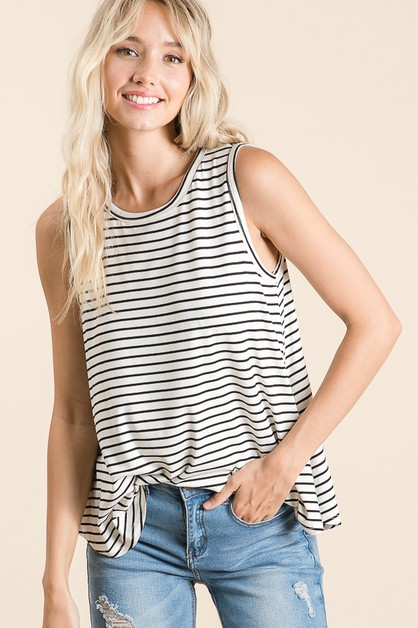 BASIC STRIPE TANK TOP - orangeshine.com