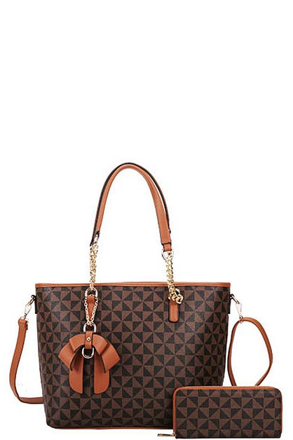 2IN1 CHECKERED RIBBON TOTE SET - orangeshine.com