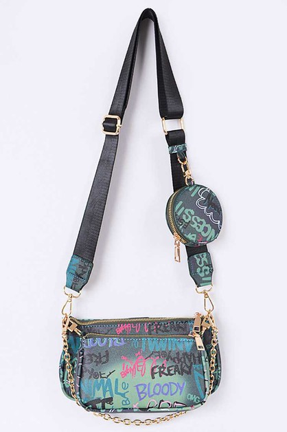 3 In 1 Graffiti Crossbody Bag - orangeshine.com
