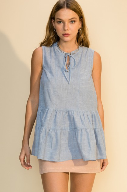 SLEEVELESS TIERED STRIPE TOP - orangeshine.com