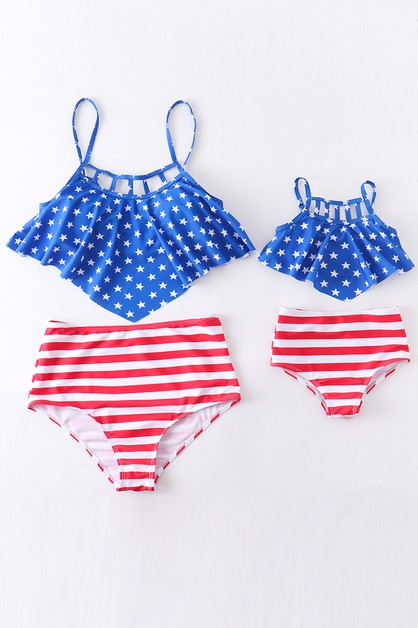 Flag patriotic swim suit mommy me - orangeshine.com