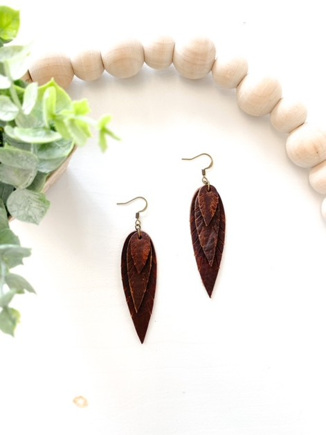 Triple Leaf Brown Leather Earrings - orangeshine.com