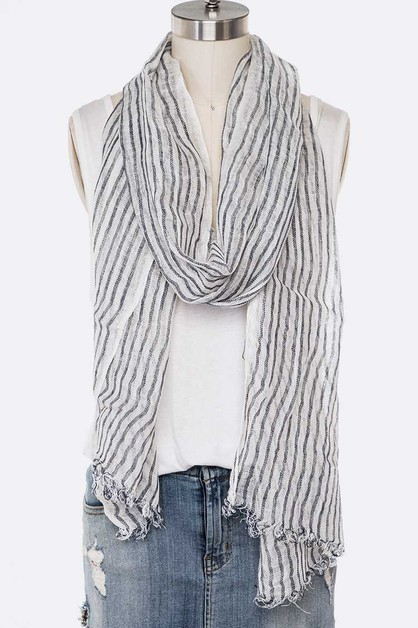Cotton Linen Stripe Oblong Scarf - orangeshine.com