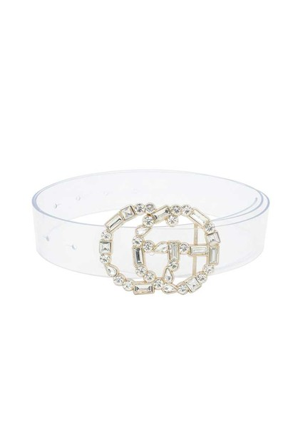 RHINESTONE BUCKLE CLEAR BELT - orangeshine.com