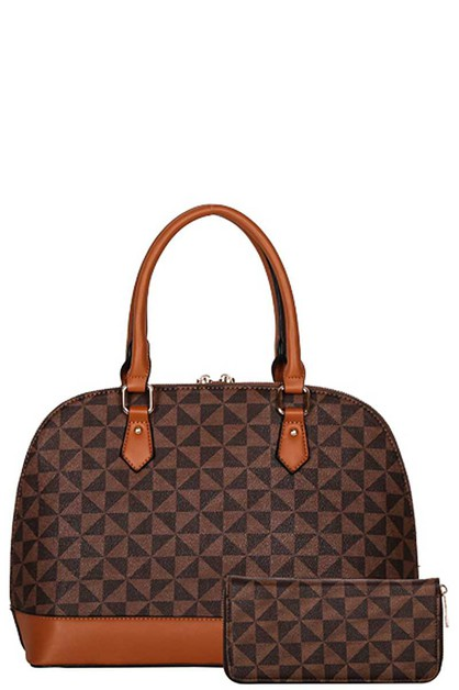 2IN1 CURVED CHECKER OVAL TOTE SET - orangeshine.com