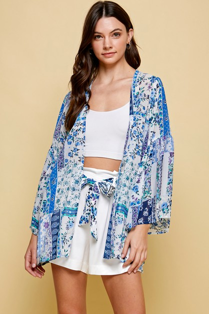 SHEER FLORAL KIMONO WITH PUFF SLEEVE - orangeshine.com