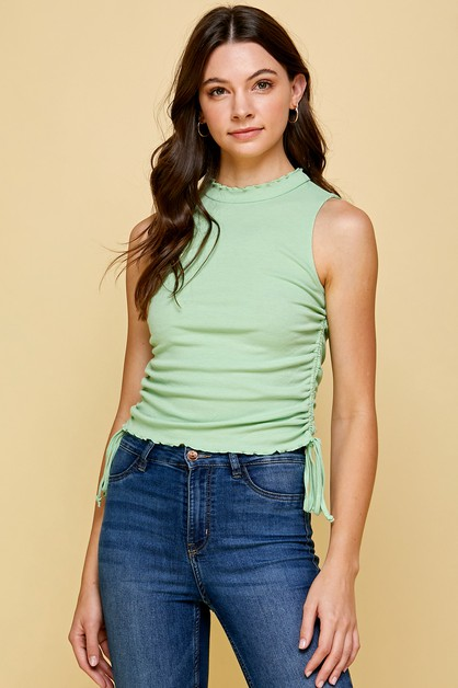MINT HIGH NECK RIBBED TANK - orangeshine.com