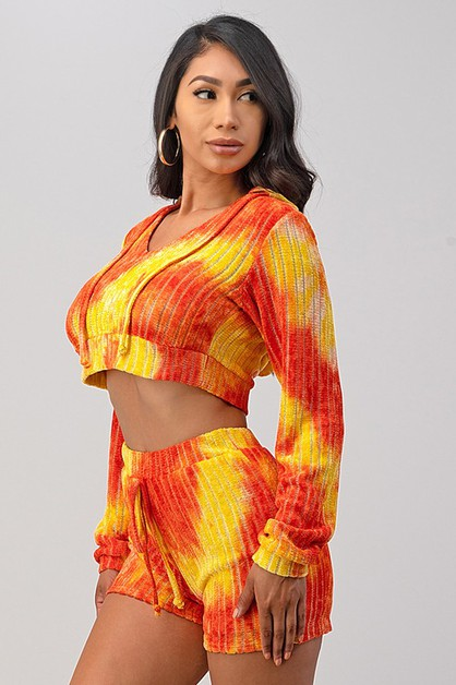 TIE-DYE HOODED CROP TOP SET - orangeshine.com