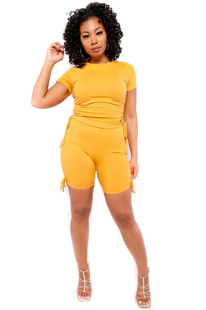 2 PC SOLID RIBBED SHORT SET - orangeshine.com