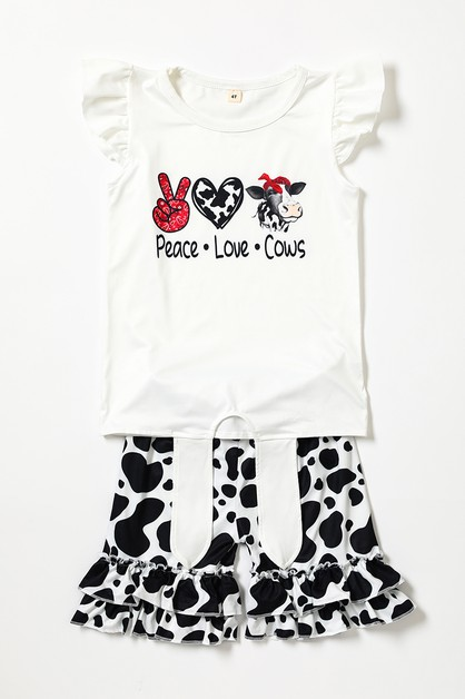 Peace love cow shorts set - orangeshine.com