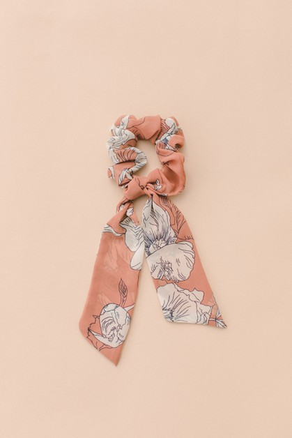 Floral Scarf Pony Scrunchie Hair Tie - orangeshine.com
