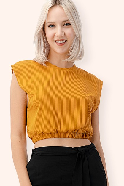 Wide Shoulder Ribbed Tank Top - orangeshine.com