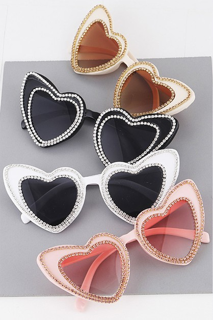 Rhinestone Accent Heart Shape Sungla - orangeshine.com