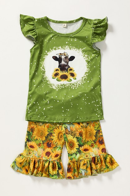 Sunflower cow shorts set - orangeshine.com
