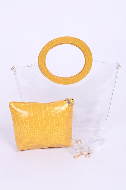 2 In 1 Cleared Top Handle Summer Bag - orangeshine.com