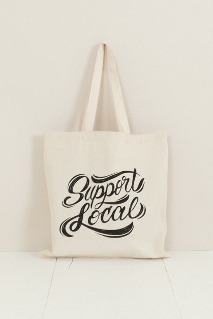 Support Local Shop Small Tote Bag - orangeshine.com