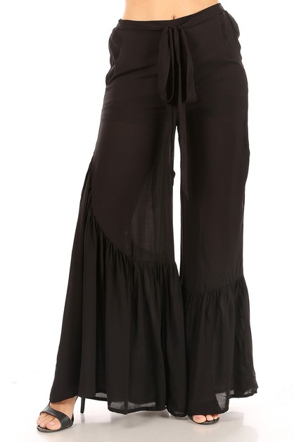 Solid wide leg pants - orangeshine.com