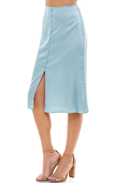 BUTTON DOWN SILK SKIRT WITH SLIT - orangeshine.com