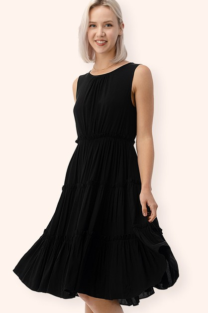Sleeveless Layered Hem Midi Dress - orangeshine.com