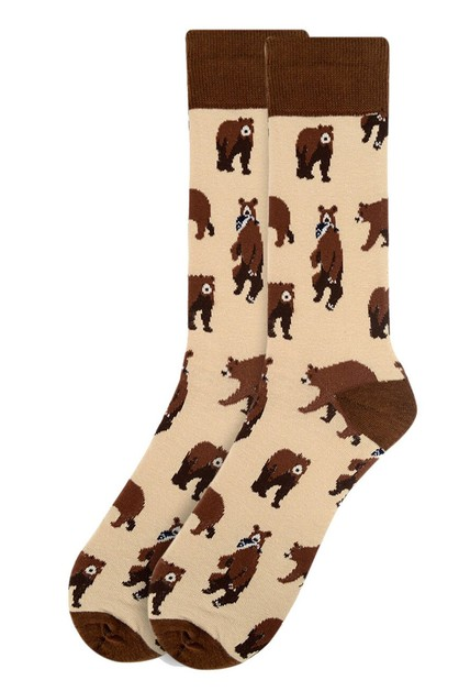 Mens Brown Bear Novelty Socks - orangeshine.com