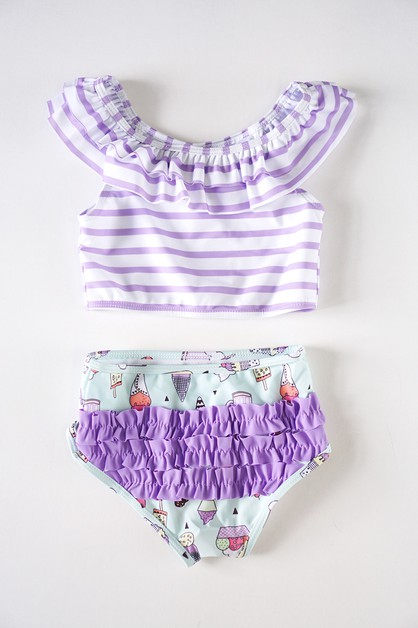 Icecream ruffle swim suit - orangeshine.com
