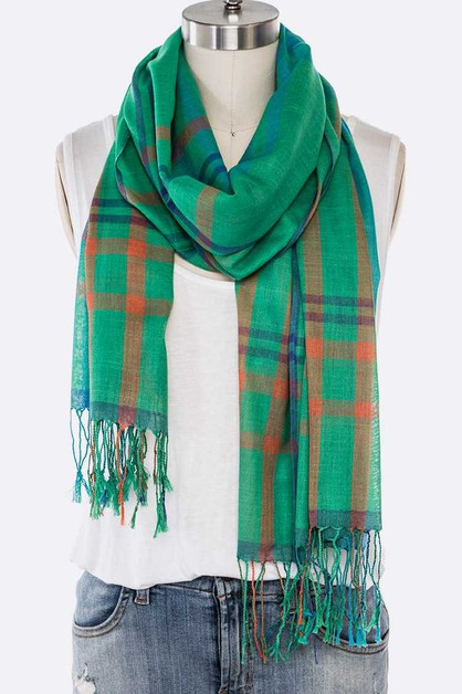 Plaid Design Fringe Scarf - orangeshine.com