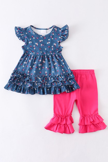 Navy ruffle floral tunic with shorts - orangeshine.com