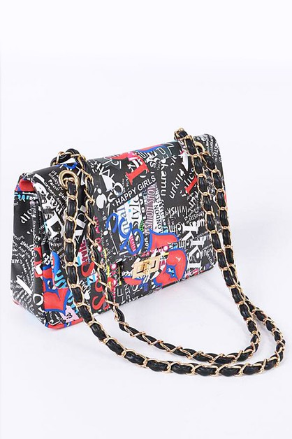 Collage Graffiti Print Iconic Bag - orangeshine.com