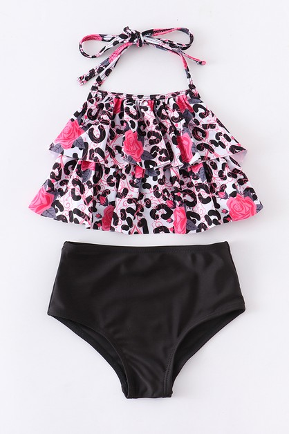 Leopard floral 2 pcs swim suits momm - orangeshine.com