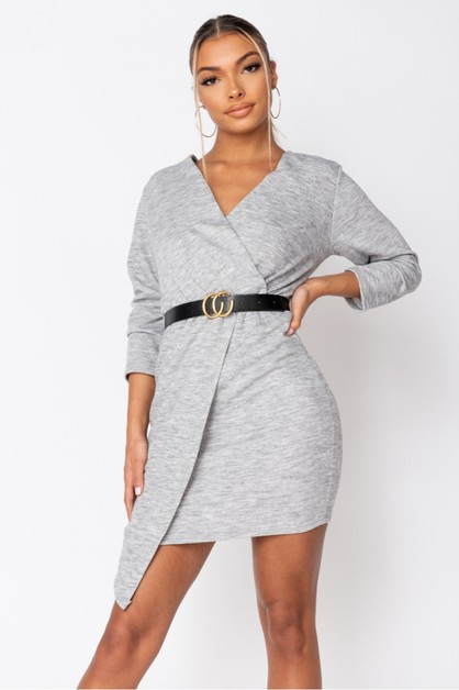 Asymmetric Knitted Dress - orangeshine.com